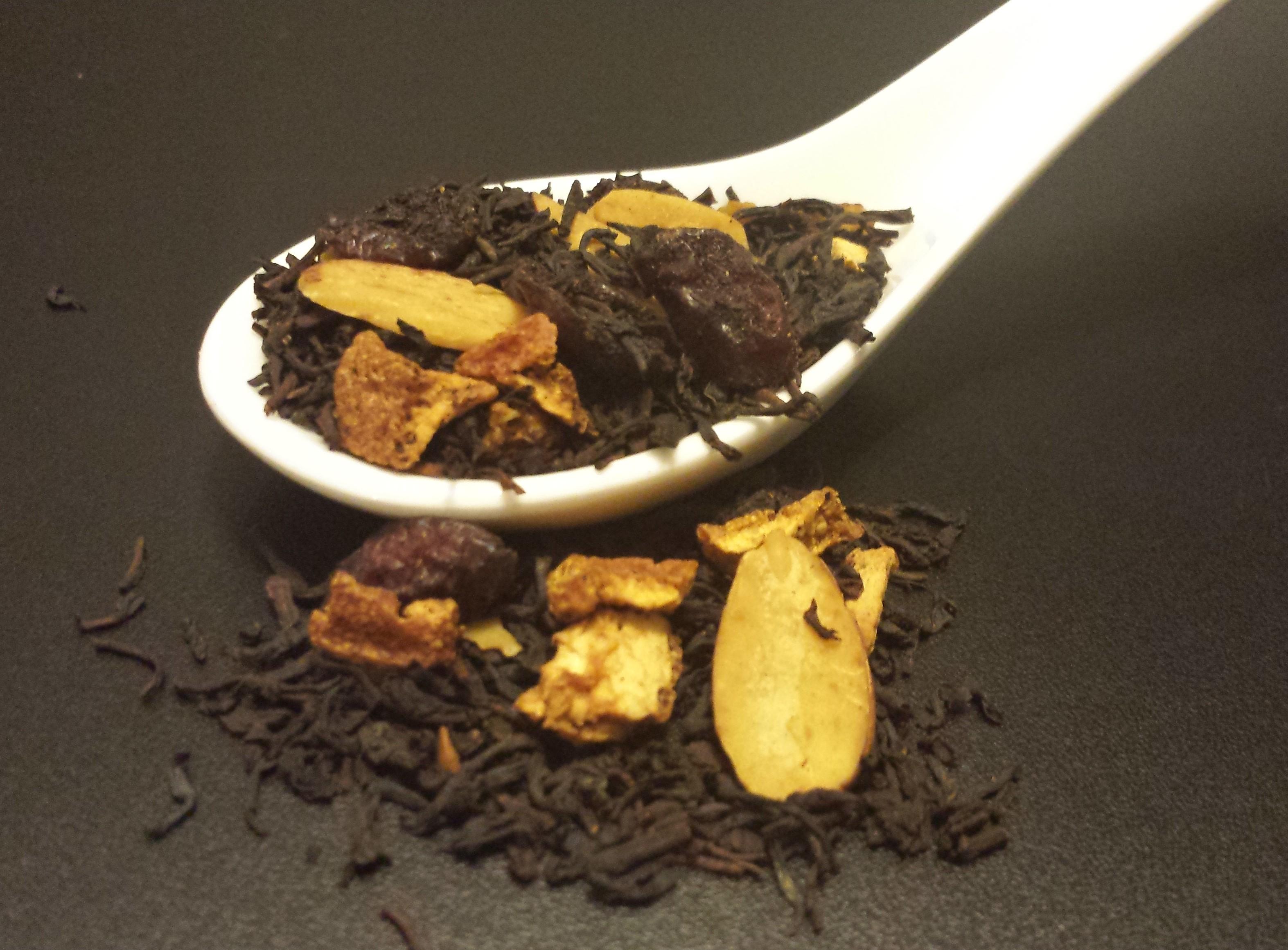 Nutcracker, black tea, orange peel, cranberry, cinnamon, chocolate mint, almond, seasonal, holiday