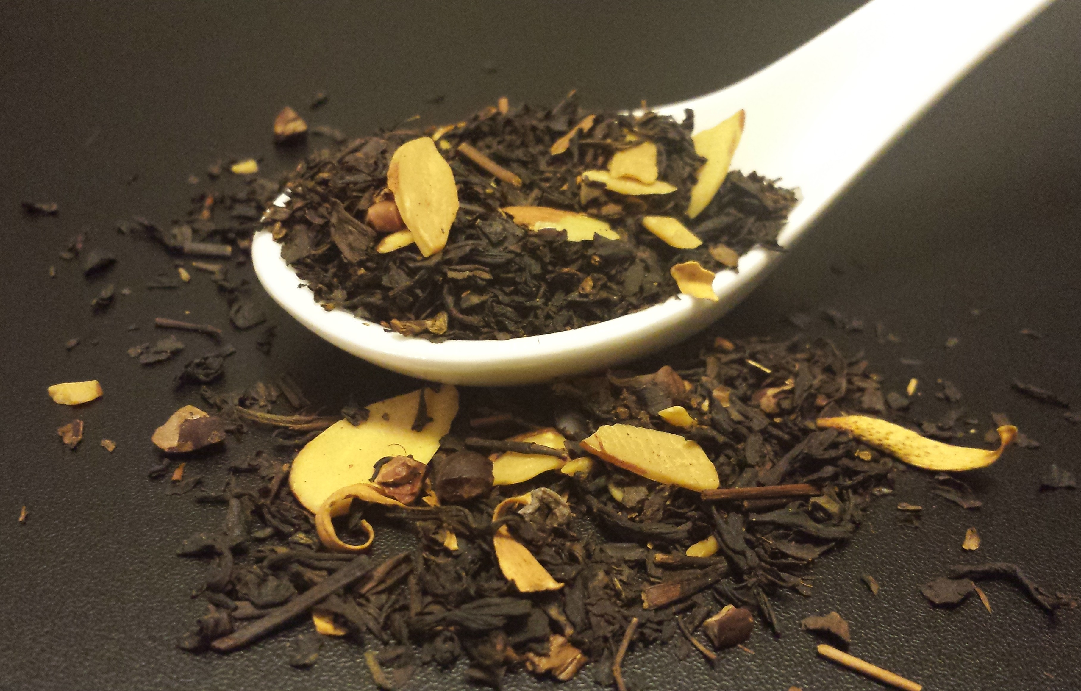 St. Nick's tea, seasonal, holiday, black tea, almond, cacao nib, vanilla bean, orange blossom